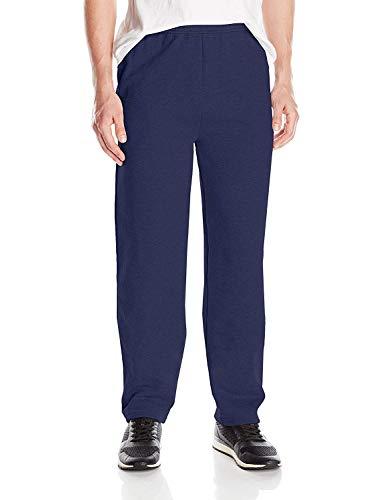 Hanes Men's EcoSmart Open Leg Pant with Pockets, Navy, L