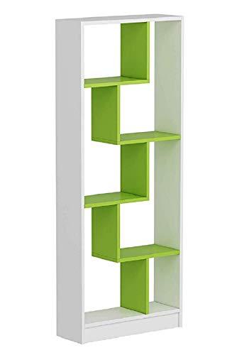 HOMIDEA Campo Libreria - Scaffale per Libri - Scaffale per Ufficio/Soggiorno dal Design Moderno (Bianco/Verde)