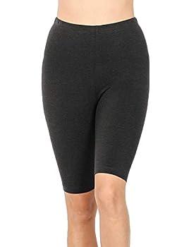 Womens Bike Short Cotton Legging Active Wear Pants  S-3XL  Charcoal-M