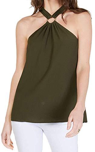 MICHAEL Michael Kors Womens Halter Keyhole Shell Green XL
