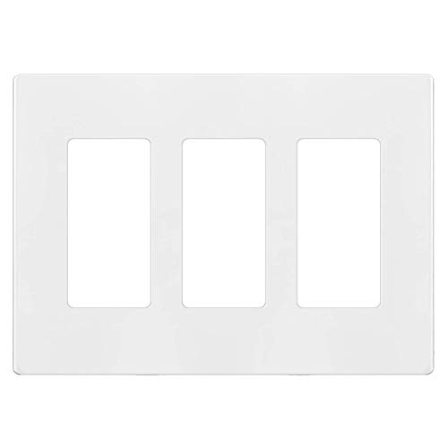 Enerlites Screwless Decorator Wall Plate Child Safe Cover, Size 3-Gang 4.68' H x 6.53' L, Unbreakable Polycarbonate Thermoplastic, SI8833-W, Glossy, White
