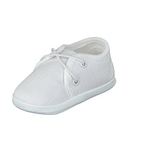 Babyschuhe Taufschuhe Lauflernschuhe Kinderschuhe Krabbelschuhe, Festliche Baby Schuhe, Leinen (Flachs), Weiß, Gr.- 18 EU/Herstellergröße- 11