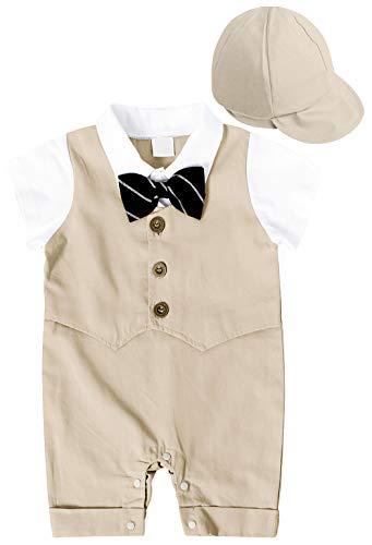MetCuento Baby Boy Suit Short Sleeve Bowtie Tuxedo Onesie Overall Gentleman Formal Outfit Khaki 6-12 Months