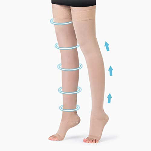 Support Thigh High Stockings for Women,Open Toe Firm Support Stockings 20-30mmHg with Anti-Slip Silicone Band Graduated Compression Socks for Treatment Swelling, Varicose Veins, Edema, Pregnancy
