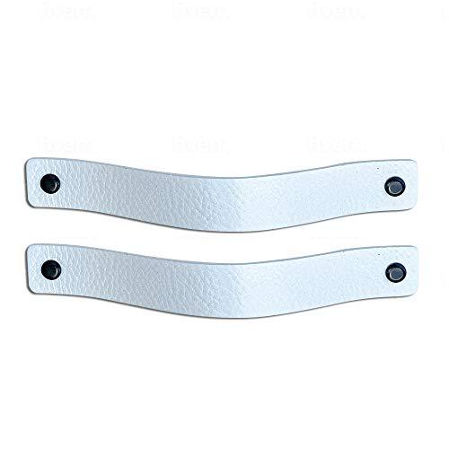 Brute Strength - Tirador de cuero - Blanco - 2 piezas - 20 x 2,5 cm - incluye tres colores de tornillos por manija de cuero para los gabinetes de cocina - baño - gabinetes