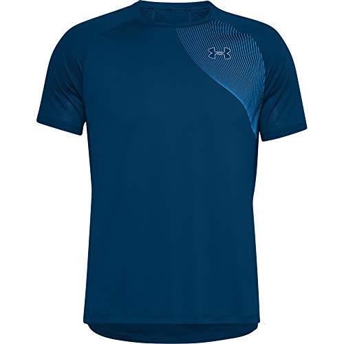 Under Armour Camiseta de Manga Corta Qualifier ISO-Chill Run Camiseta, Hombre, Graphite Blue/Electric Blue/Reflective (581), SM