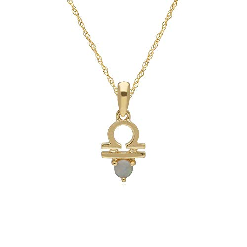 Opal Libra Zodiac Charm Necklace in 9ct Yellow Gold