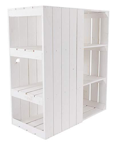 Kontorei® Schreibtisch Unterbau aus weißen Holzkisten (Links) 74cm x 65cm x 35cm 1er Set Obstkisten Weinkiste Regal Weiss Zwischenbretter Vintage Holzbox Apfelkisten Einlegeböden Tisch