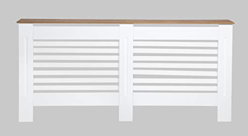 Cubierta para radiador de tablero DM moderno diseño horizontal para sala de estar/cama – blanco extra grande