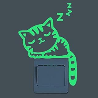 POPIGIST 2pcs Light Switch Decals Glow in The Dark Cartoon Sleepy Cat Pattern Wall Stickers Light Switch Decor Art Mural Paste