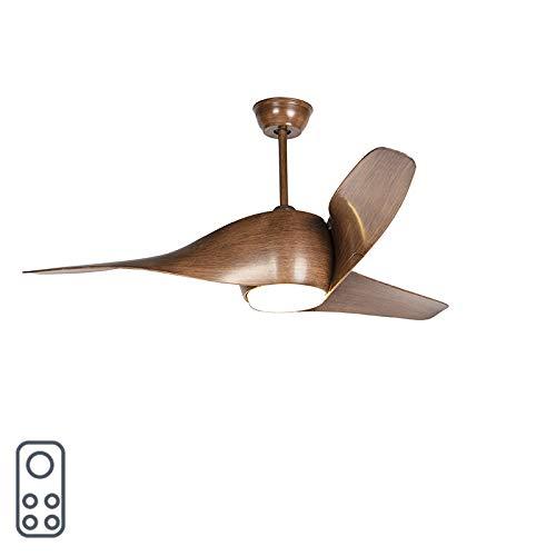 QAZQA Moderne Ventilateur de plafond en bois avec LED et télécommande - Sirocco 50 /Acier Marron Rond Non remplaçable Max. 1 x 18 Watt/Luminaire/Lumiere/Éclairage/intérieur/Salon/Cuisine
