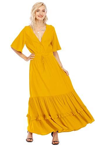 R.Vivimos Womens Summer Cotton Short Sleeve V Neck Floral Print Casual Bohemian Midi Dresses (Small, Yellow)