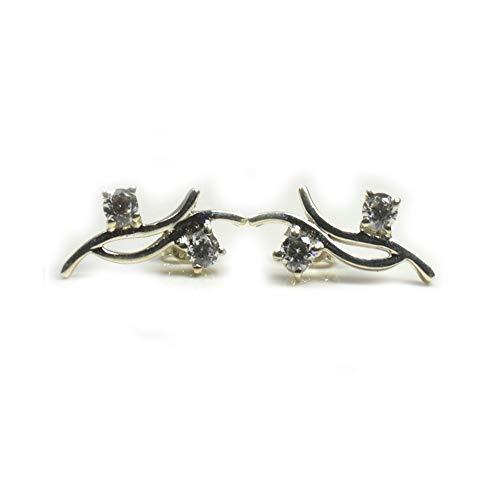 Jewelryonclick - Pendientes de plata de ley 925 con circonitas cúbicas blancas para mujer, estilo informal, hechos a mano