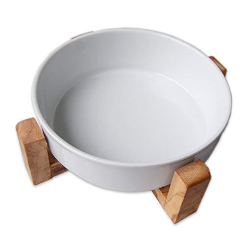 Comedero Piatto 0,9 l de porcelana con un soporte antideslizante de madera de olivo – Cuenco de cerámica para perros y gatos
