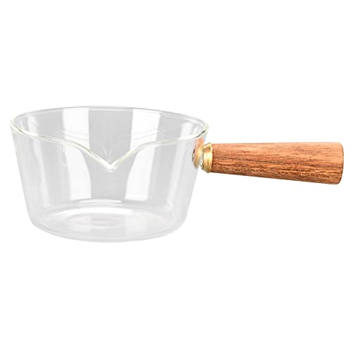 Cacerola de vidrio para leche con mango de madera, Cacerola para leche, Cacerola, Accesorios para utensilios de cocina para el hogar(M)