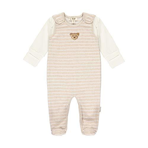 Steiff Baby-Unisex mit süßer Teddybärapplikation Set Strampler + T-Shirt Langarm GOTS, Sandshell, 062