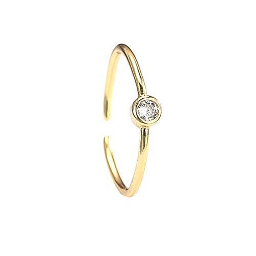 Ai.Moichien Anillo De Oro Amarillo con Diamantes Plata De Ley 925 Ajustable Pareja Abierta Promesa Novia Bandas Joyas