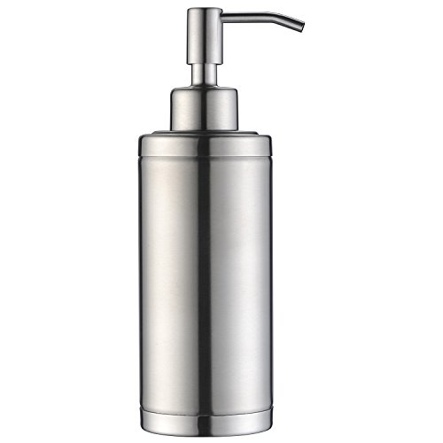 KVADRAT Full Stainless Steel Countertop Sink Soap Dispenser, Prime 300 ML Liquid Bottle For Kitchen & Bathroom Hand Dish Lotion (Brushed Nickle Soap Dispenser)
