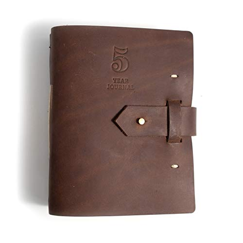 Rustico 5 Year Journal/Five Year Diary Log Book/Journal, Handmade in The USA from top Grain Leather (Dark Brown) Maine