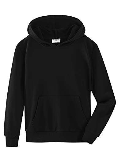 Spring&Gege Youth Solid Pullover Sport Hoodies Soft Kids Hooded Sweatshirts for Boys and Girls Size 7-8 Years Black