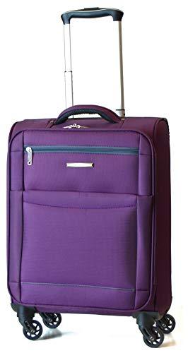 DK Luggage Starlite Lightweight Cabin 55cm Suitcases 4 Wheel Spinner Purple