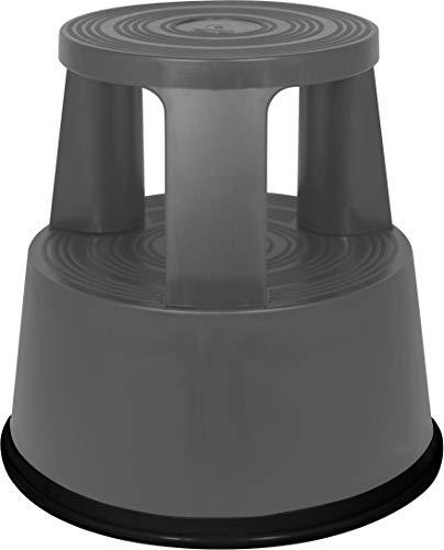 Pavo 8042005 Roll-/Tritt-/Arbeits Hocker / Roll-/Stufen Tritt, Elefantenfuß / Steighilfe TÜV & GS geprüft bis 150 kg, kunststoff schwarz