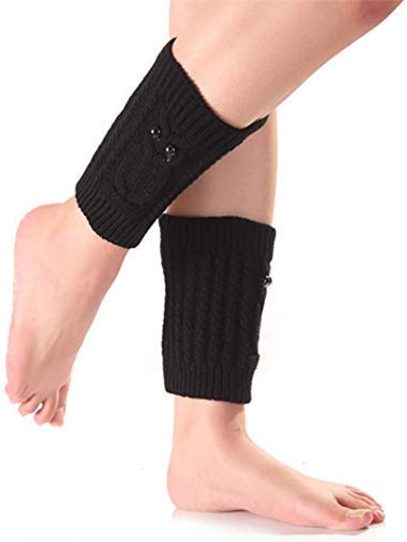 Warmer Socks Autumn Winter Owl Short Knitted Socks Women's Wool Warm Boots Leggings (color   Black)