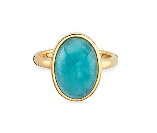 caï women Damen-Ring 925 Silber gelb vergoldet Amazonit blau 1,2 cm 54 (17.2) C1802R/90/G1/54