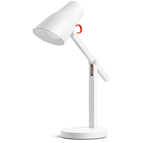 tomons Schreibtischlampe LED Dimmbar USB Wiederaufladbare Tischlampe, Touch Büro Tischleuchte 3 Farb, Stufenloses Dimmen, Memory-Funktion, Augenschutz Lampe, Verstellbarer Arm, Weiß