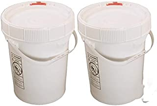 5 Gallon White BPA Free Durable Food Grade Bucket with Screw Lid (2 Pk), All Purpose Specialty Storage Plastic Pail