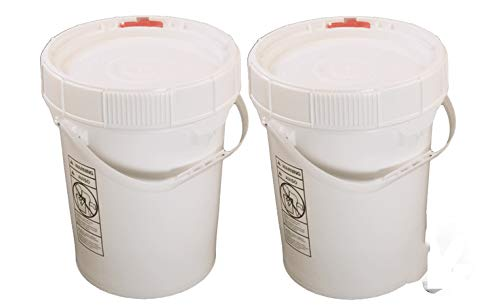 5 Gallon White BPA Free Durable Food Grade Bucket with Screw Lid (2 Pk), All Purpose Specialty Storage Plastic Pail Safety
