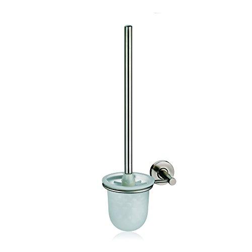 Kela 21432, WC-Bürstentopf für Wandmontage, Toilettengarnitur, Metall, Java, 42cm, Silber Matt