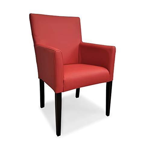 Rote Ledersessel Echtleder Esszimmerstühle Kross Arm Extra rotes Leder Siegelstein Stühle Lederstühle Sessel mit Armlehnen Echt Leder Esszimmer Stuhl