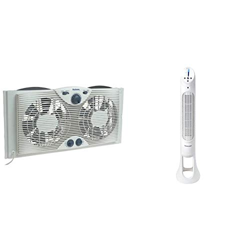 "Holmes Dual 8"" Blade Twin Window Fan with Manual Controls, 3 Speed Settings, White & Honeywell Quiet Set Whole Room Tower Fan"