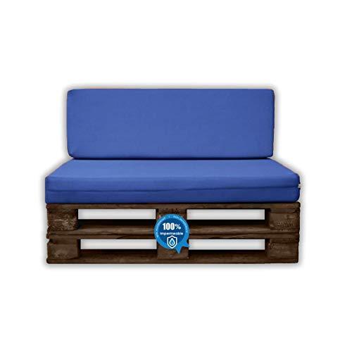 MICAMAMELLAMA Pack Asiento + Respaldo para Sofá de Palet Exterior e Interior - Funda Náutica Azul - Espuma HR Alta Densidad - Grosor 12cm