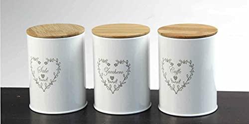Kasahome Set 3 barattoli contenitori in latta tappo in legno sale zucchero caffè Contenitore cibo Spezie Cucina Cuore 9x11 cm