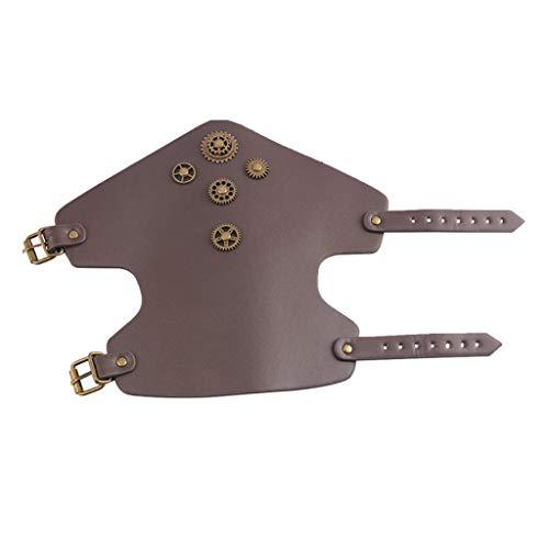 Sharplace Steampunk Armschützer aus Leder lang Armband Armstulpe Lederarmschienen mit Zahrand für Damen und Herren - Dark Brown