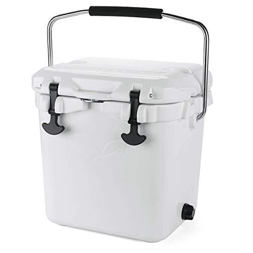 F40C4TMP 20 Quart Kühler, 5 Tage Eisspeicher, Kühlbox mit Flaschenöffner, isoliert, auslaufsicher, 30 Dosen, Hartschale, tragbare Eistruhe für Beruf, Camping, Angeln weiß