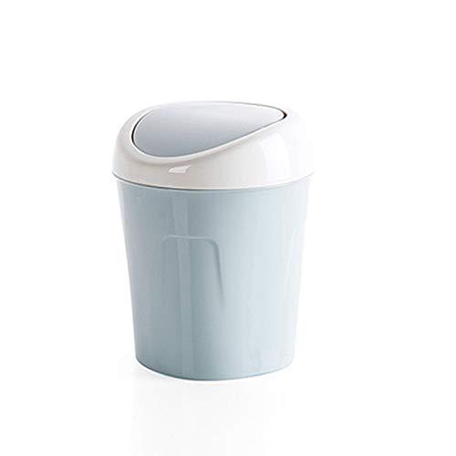 TOYHEART Mini Bote De Basura con Tapa, Bote De Basura, Bote Multiusos Duradero, Contenedor De Desechos De Gran Capacidad para Habitación Azul