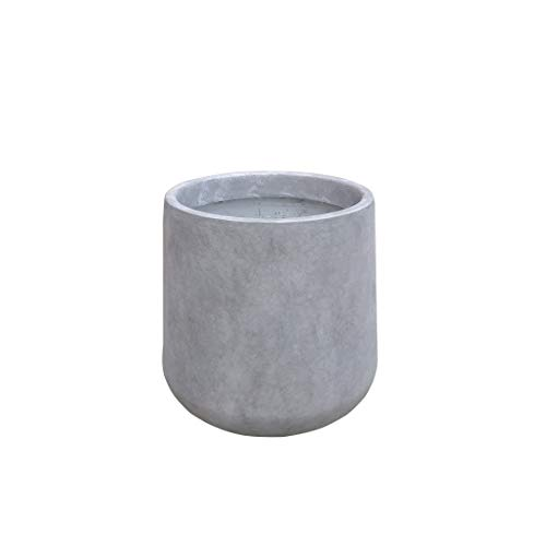 Kante RF2015022B-C80021 Modern Lightweight Footed Tulip Outdoor Round Planter, Natural Concrete