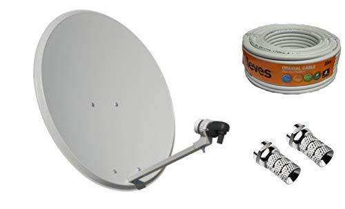 Kit Antena PARABOLICA 60cm Marca Tecnovoz+ Rollo 20m TELEVES +
