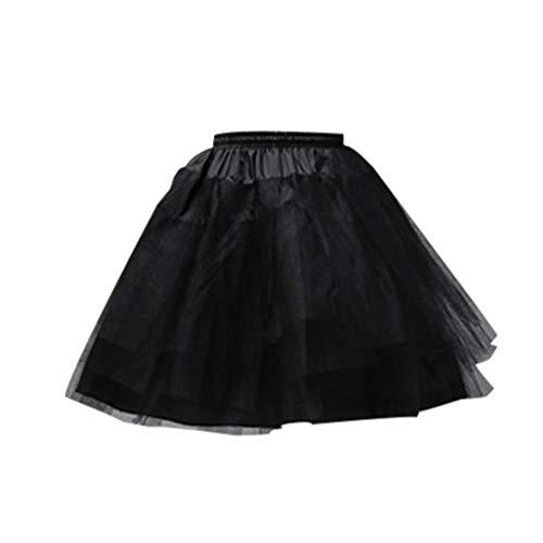 NUOBESTY Mädchen Petticoat Unterrock Reifrock Voile Tutu Rock 4 Schichten Tüll Petticoats 45cm Kurzer Rock (Schwarz)
