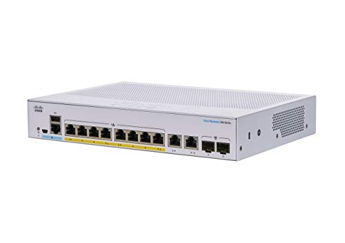 Cisco Business CBS350-8P-E-2G Managed Switch, 8 Port GE, PoE, Ext PS, 2x1G Combo, Limited Lifetime Protection (CBS350-8P-E-2G-NA)