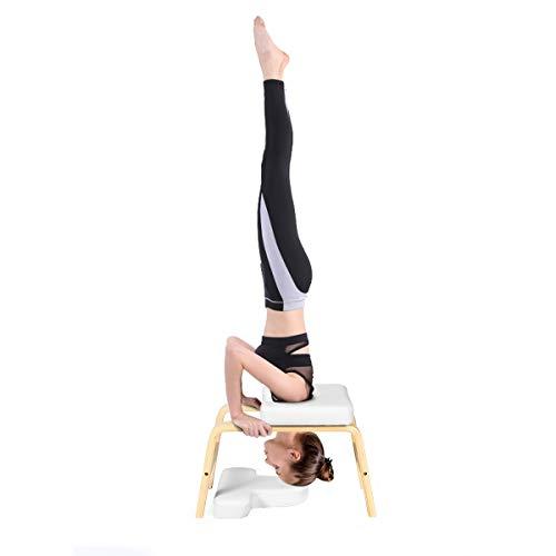 COSTWAY Taburete de Yoga con Cojín Silla Banco de Yoga de Madera para Entrenamiento y Gimnasia