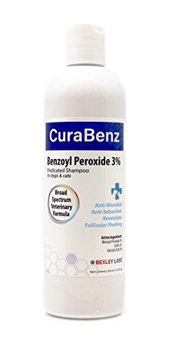 BEXLEY LABS Curaseb Benzoyl Peroxide Dog Shampoo – Treats Mange, Demodex, Dandruff, Seborrhea, Pyoderma, Mites & Acne – Broad Spectrum Veterinary Formula (12oz)