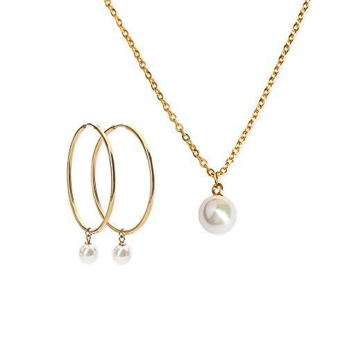LuckyLy – Set Juego de Joyería para Mujer Perlas – Aretes y Collar Oro 18k Adele – Base Acero Inoxidable Baño Oro 18k – Regalo Mujer Cumpleaños, Regalos Mujer Originales