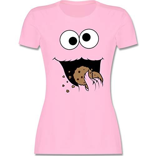 Karneval & Fasching - Keks-Monster - M - Rosa - Ernie Shirt Damen - L191 - Tailliertes Tshirt für Damen und Frauen T-Shirt