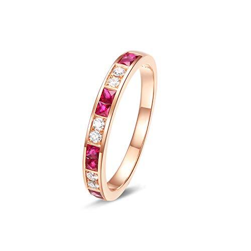 AnazoZ 18K Oro Anillos Mujer Oro Rosa Blanco Anillos Mujer Redondo Cuadrado Diamante Turmalina Rosa 0.48ct Talla 9,5