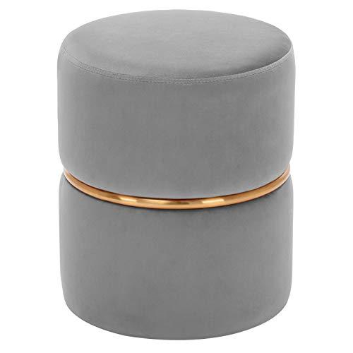 Duhome Sitzhocker Hocker Rund Polsterhocker Schminkhocker edles Design 9123, Farbe:Grau, Material:Samt
