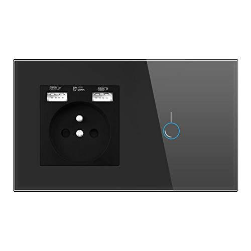 Interruptor De Sensor Con Enchufe, Enchufe Con Panel De Cristal Usb 146mm * 86mm Enchufe 16a, Con Interruptor TáCtil 1gang 1way-Negro